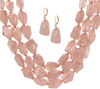 Linea by Louis Dell'Olio Frosted Bead Necklace & Earring Set - J329550