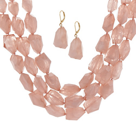 Linea by Louis Dell'Olio Frosted Bead Necklace & Earring Set