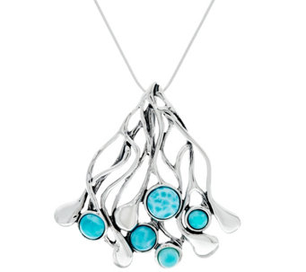 "Hagit Sterling & Larimar Cabochon 18"" Necklace - J329850"