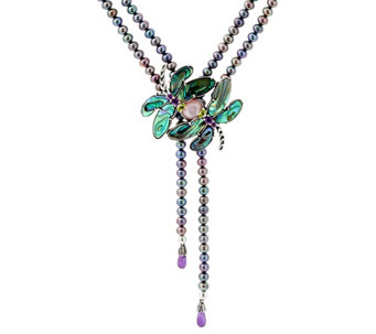 Carolyn Pollack Cultured Pearl & Gemstone Dragonfly Necklace - J330050