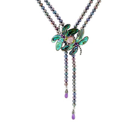 Carolyn Pollack Cultured Pearl & Gemstone Dragonfly Necklace