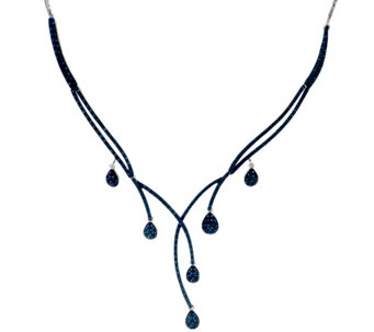 Blue Diamond Drop Necklace Sterling, 1.00 cttw, by Affinity - J330550