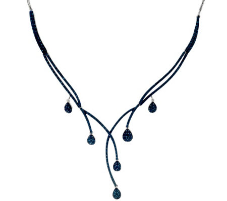 Blue Diamond Drop Necklace Sterling, 1.00 cttw, by Affinity