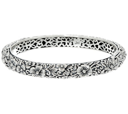 JAI Sterling India Collection Carved Flower Bangle Bracelet
