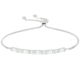 Diamonique Baguette Bar Adjustable Bracelet, Sterling - J331450