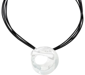 RLM Leather Necklace with White Bronze Circle Drop - J332550