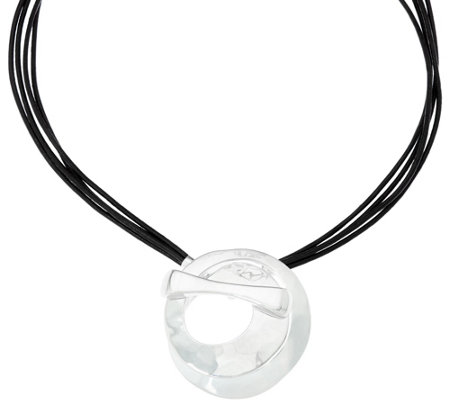RLM Leather Necklace with White Bronze Circle Drop