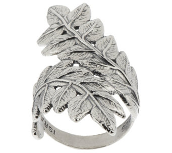 """As Is"" Sterling Silver Leaf Design Bypass Ring by Or Paz - J332850"