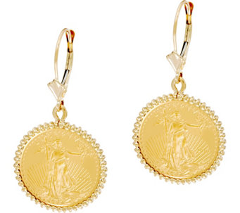 14K/22K Gold Liberty Coin Leverback Earrings - J334650