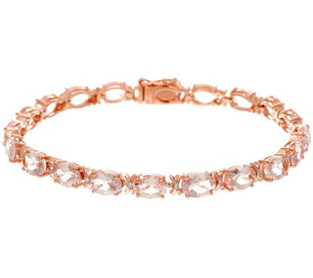 "Oval Morganite & Diamond 6-3/4"" Tennis Bracelet, 14K 10.50 cttw"