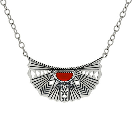 American West Red Coral Sterling Sun Ray Necklace