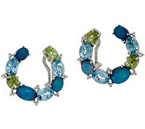 Judith Ripka Sterling Silver Cabochon Front Facing Hoop Earrings - J349550