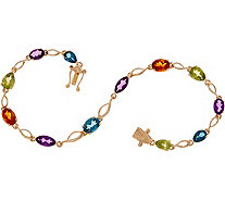 "Multi-Cut Gemstone 8"" Tennis Bracelet 14K Gold - J349750"