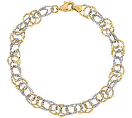 Italian Gold Two-Tone Polished & Textured Bracelet 14K, 3.2g