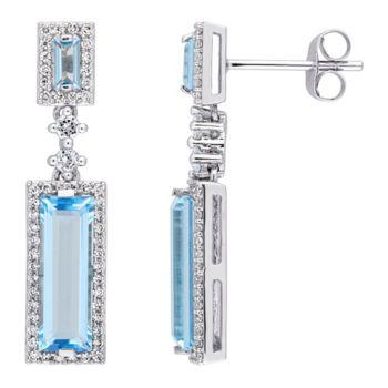 4.20 cttw Blue Topaz & 3/10 cttw Diamond Drop Earrings, 14K