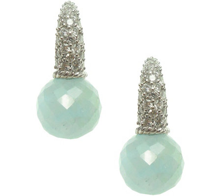 Judith Ripka Sterling Milky Aquamarine & Diamonique Earrings