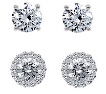 Diamonique 3.90 cttw Halo & Stud Earrings Set,Platinum Plated - J380650