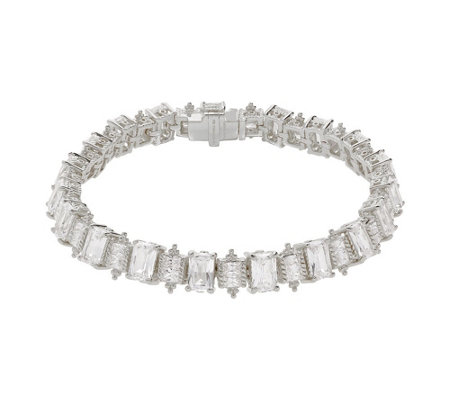 "Judith Ripka Sterling 6-3/4"" Emerald Cut Diamonique Bracelet"
