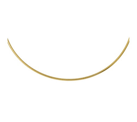 "Italian Gold 18"" 3mm Round Omega Necklace 14K,17.8g"