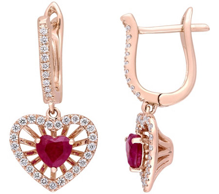 14K Gold 1.15 cttw Ruby & Diamond HeartDangle Earrings