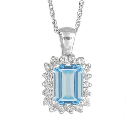 14K 1.40 cttw Emerald-Cut Aquamarine Halo Pendant with Chain