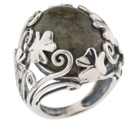 Connemara Marble Sterling Shamrock Ring