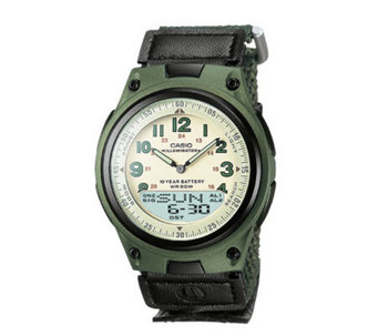Casio Men's World Time Ana-Digi Green Watch - J106951