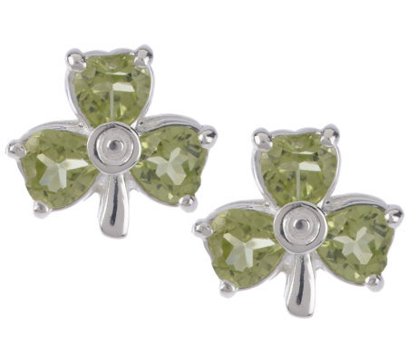 JMH Jewellery Sterling Silver Peridot Shamrock Stud Earrings