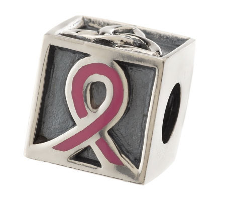 Tara's Diary Sterling Silver Breast Cancer Charm