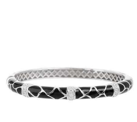 Hidalgo Diamonique Sterling Enamel Bangle Bracelet