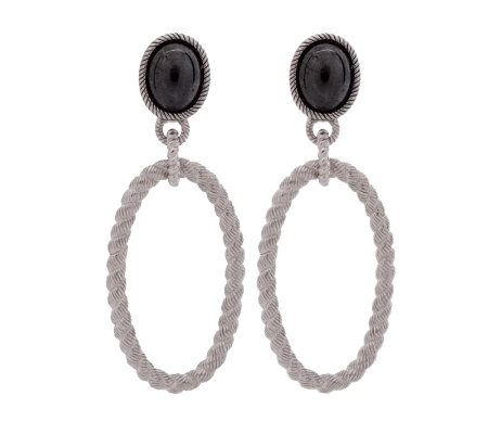 Judith Ripka Sterling Open Hoop Gemstone Earrings