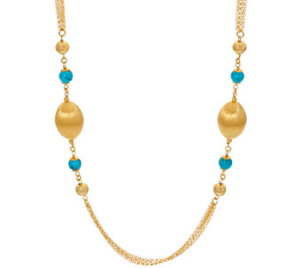 "Veronese 18K Clad 36"" Gemstone & Satin Station Necklace - J270651"