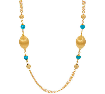 "Veronese 18K Clad 36"" Gemstone & Satin Station Necklace"