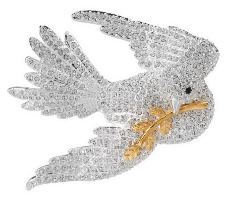 Joan Rivers Pave' Dove of Peace Pin