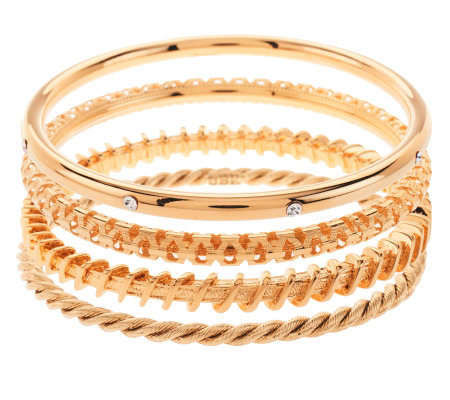 Jacqueline Kennedy Set of 4 Goldtone Bangle Bracelets