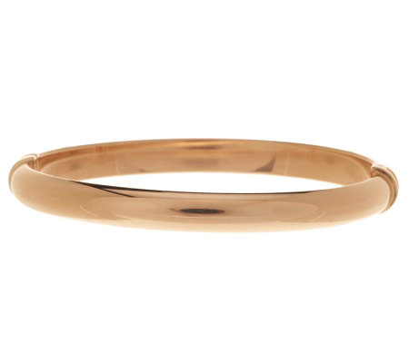 Bronze Large Polished Domed Oval Hinged Bangle by Bronzo Italia