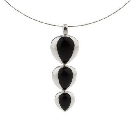 """As Is"" Paola Valentini Sterling Carved Gemstone Drop Necklace"