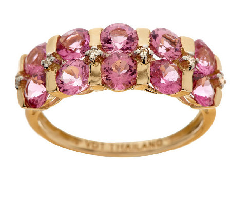 """As Is"" 2.30 cttw Tourmaline & Diamond Accent Band Ring, 14K"
