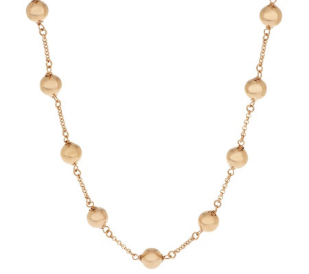 "Bronze 36"" Polished Bead Station Necklace by Bronzo Italia"