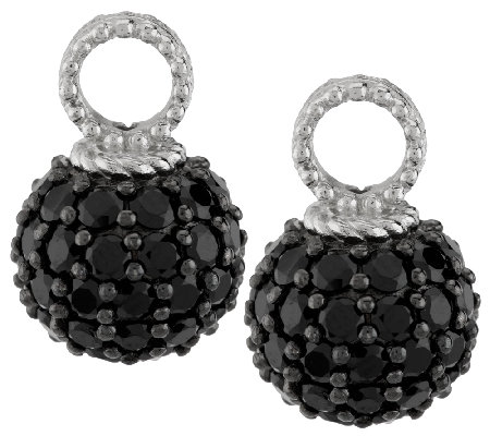 Judith Ripka Sterling 5.30ct Black Spinel Set of 2 Hoop Charms