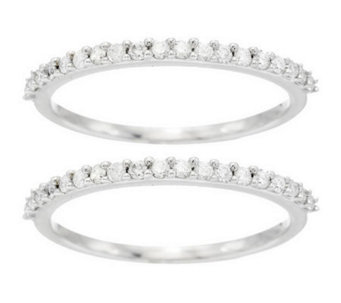 Set of 2 Diamond Band Rings, 14K Gold 3/8 cttw, by Affinity - J288251
