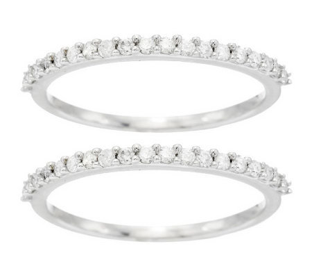 Set of 2 Diamond Band Rings, 14K Gold 3/8 cttw, by Affinity