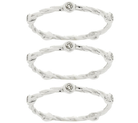 Set of 3 Band Diamond Rings, Sterling, 1/5 cttw, by Affinity