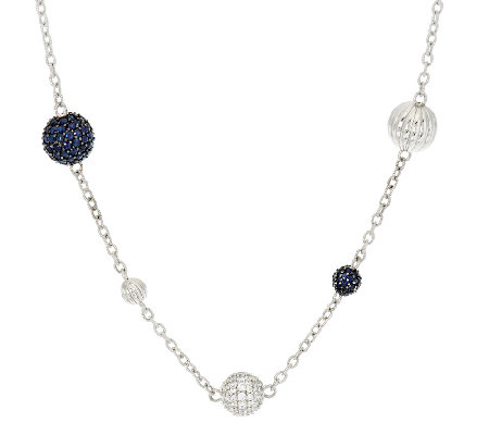 "Judith Ripka Sterling 9.80ct Pave Sapphire & Diamonique 36"" Station Chain"