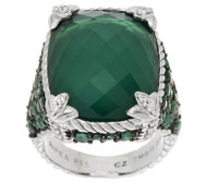 Judith Ripka Sterling Monaco Green Goddess Ring w/ Emeralds