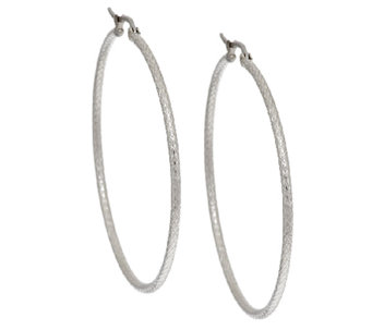 "Stainless Steel Textured 2"" Hoop Earring - J294351"