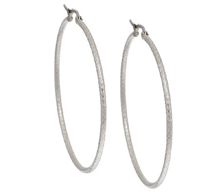 "Stainless Steel Textured 2"" Hoop Earring"