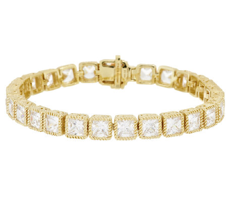 "Judith Ripka 8"" Sterl & 14KClad Princess Cut Diamonique Tennis Bracelet"