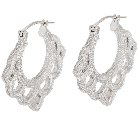 Judith Ripka Sterling Open Work Hoop Earrings