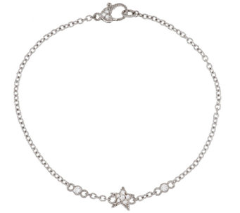 "Judith Ripka Sterling Diamonique Starfish 10"" Anklet - J296051"